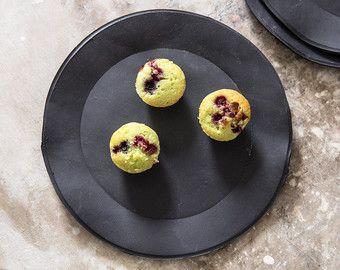 Schwarze Platten, Salatteller, servieren Teller, Dessertteller, handgemachte Porcelaine Platte, modernen Look, Housewarminggeschenk