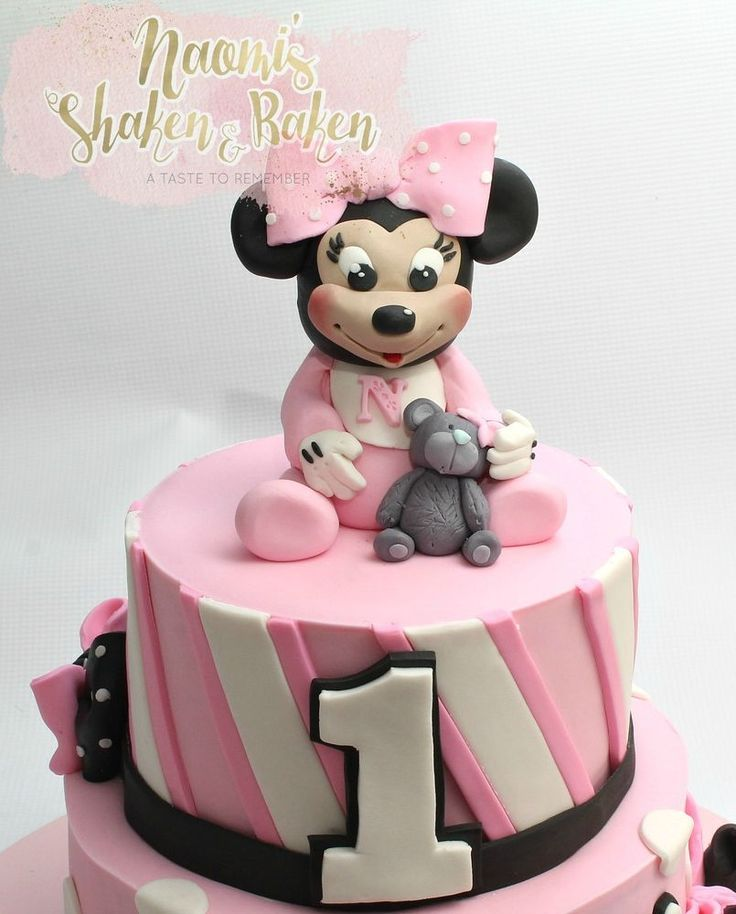 Edible Baby Minnie Mouse Cake Topper With Teddy 8-12cm #Birthday