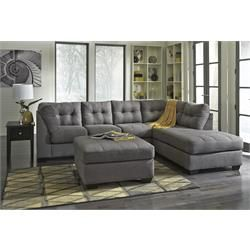 "Rent to Own Living Room Furniture - Premier Rental-Purchase located in Dayton. Signature Furniture by Ashley ""Maier-Charcoal"" Sectional. (937)278-2000"