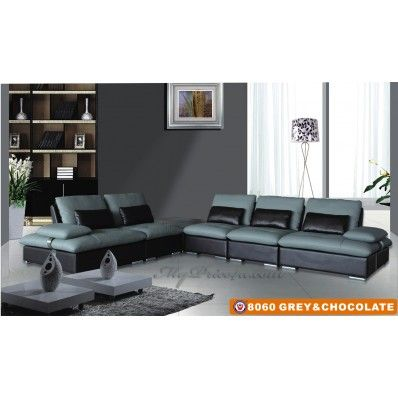 Superior Contemporary Sectional Gray Chocolate Leather 8060 American Eagle Furniture