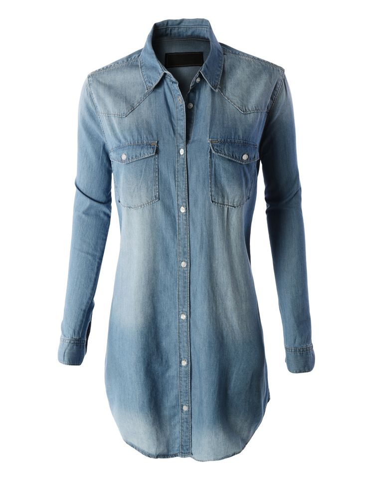 LE3NO Womens Classic Loose Fit Chambray Jean Denim Shirt Dress with Po | LE3NO