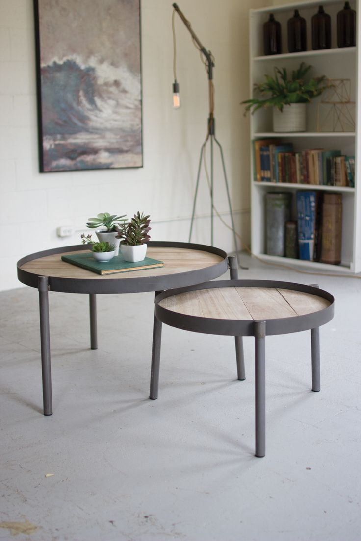 Best Set Of 2 Round Iron Nesting Coffee Tables With Wooden Tops 400 x 300