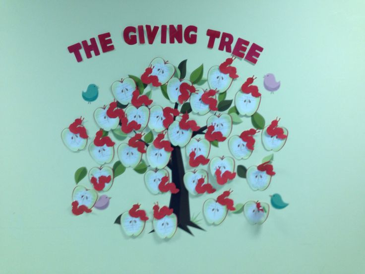 Each apple is what you are thankful for - each worm is the staff's name! Great moral booster!!