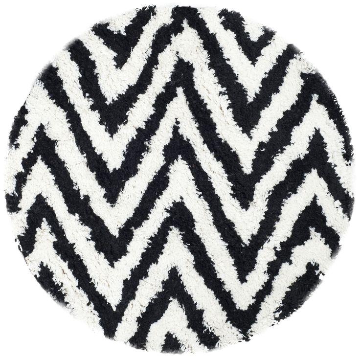 Lovely Safavieh Handmade Chevron Ivory/ Black Shag Rug (4u0027 Round) (SG250B
