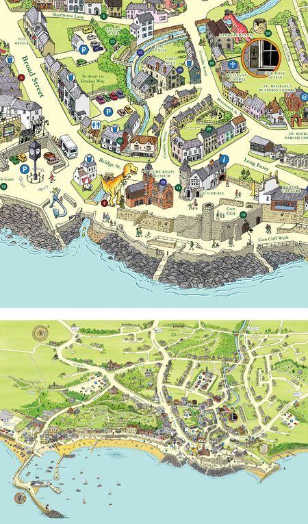 Keith Robinson - Lyme Regis map. Lyme Regis Harbour, Dorset, England.