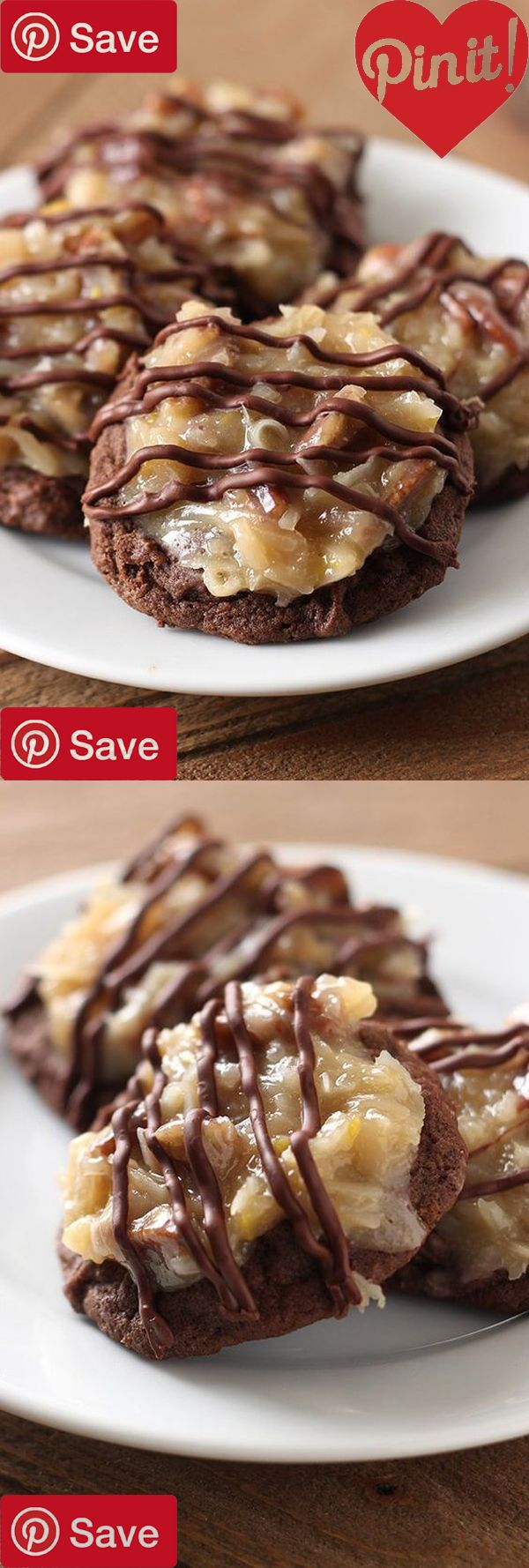 German Chocolate Cookies - German Chocolate Cookies feature a homemade ultra soft chewy and gooey double chocolate cookie loaded with a flavorful coconut pecan #delicious #diy #Easy #food #love #recipe #recipes #tutorial #yummy @mabarto - Make sure to fol