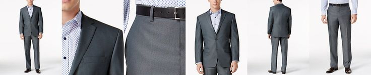groomsmen -  Marc New York by Andrew Marc Men's Classic-Fit Gray Sharkskin Suit