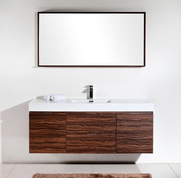"Bliss 60"", Kubebath  Walnut Wall Mount Modern Bathroom Vanity - The Vanity Store Inc."