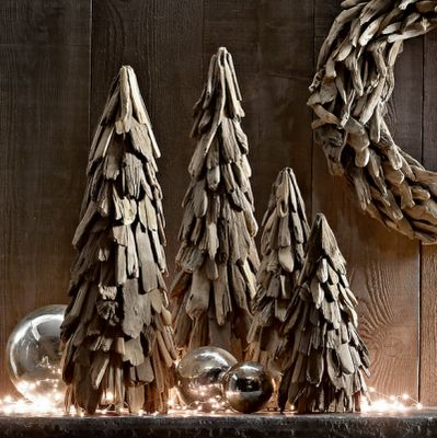 driftwood topiary Christmas trees