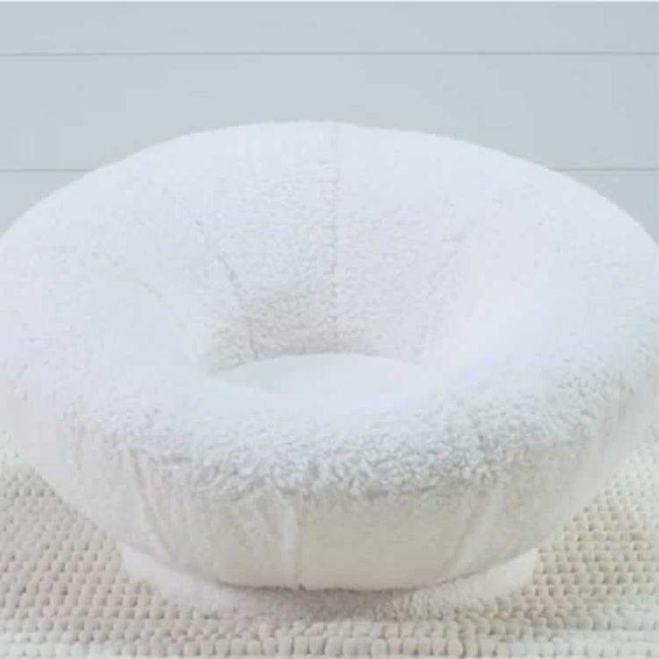 Sherpa Ivory Faux Fur Groovy Swivel Chair Bed Frame With