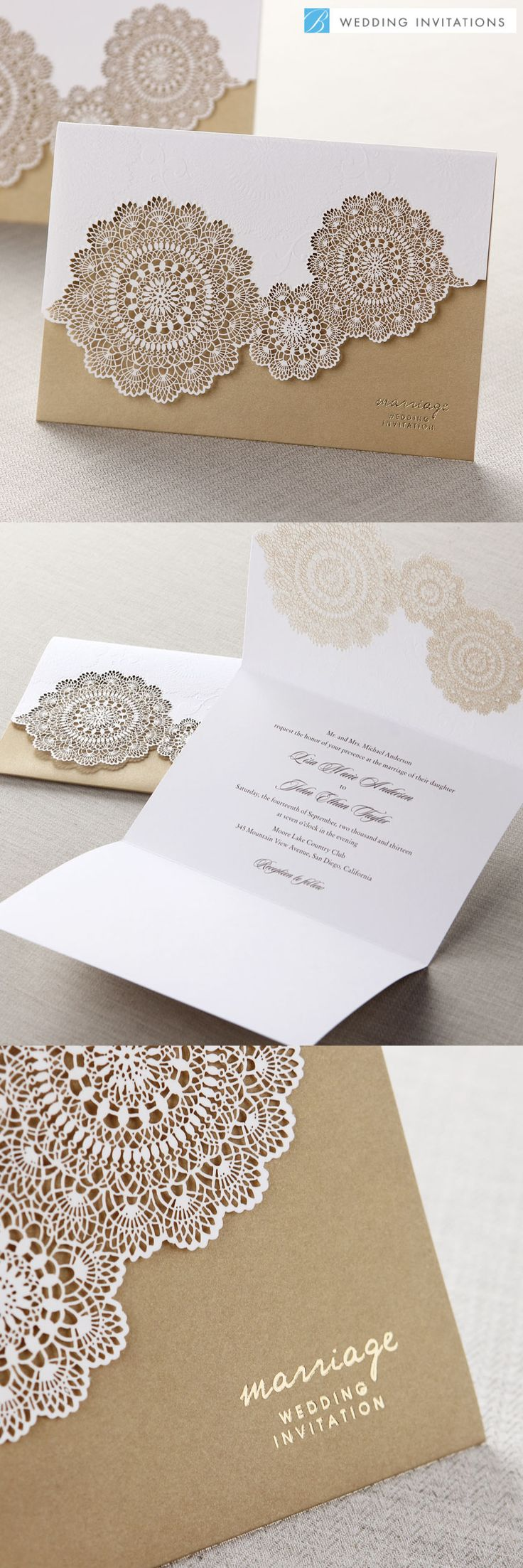Tri Fold Laser Cut Gold Wedding Stationery Set