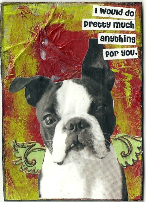 Boston Terrier collaged Artist Trading Card by Joy Northrop