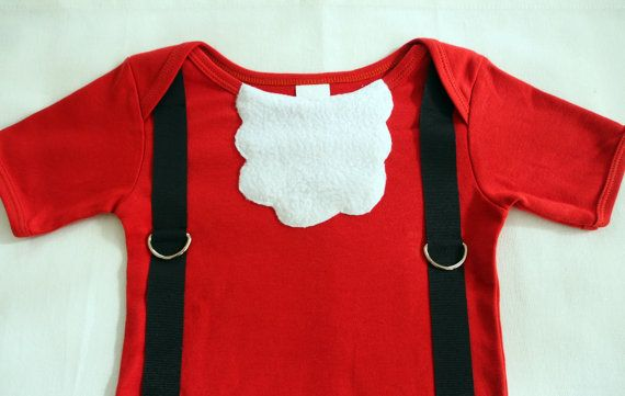 A must have item for Christmas! This Santa Claus onesie has a adorable fleece beard and black suspenders.   Available at keb4kids on Etsy