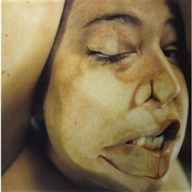 Jenny Saville, took these images of herself pressed agained glass, to use as source material for her paintings.