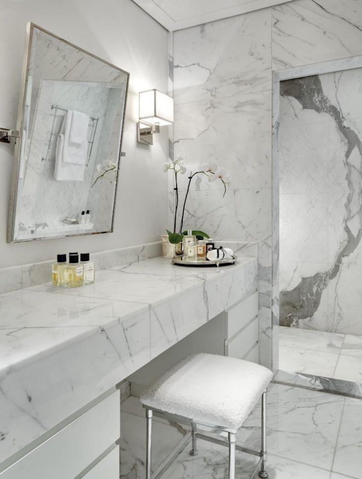 48 Wonderful Marble Bathroom Designs 48 Luxurious Marble Bathroom Designs With White Bathroom Wall Wash Basin Chair Mirror Lamp Flower Decor And Ceramic
