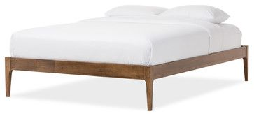 Bentley Mid-Century Modern Solid Wood Bed Frame - Midcentury - Bed Frames - by Baxton Studio