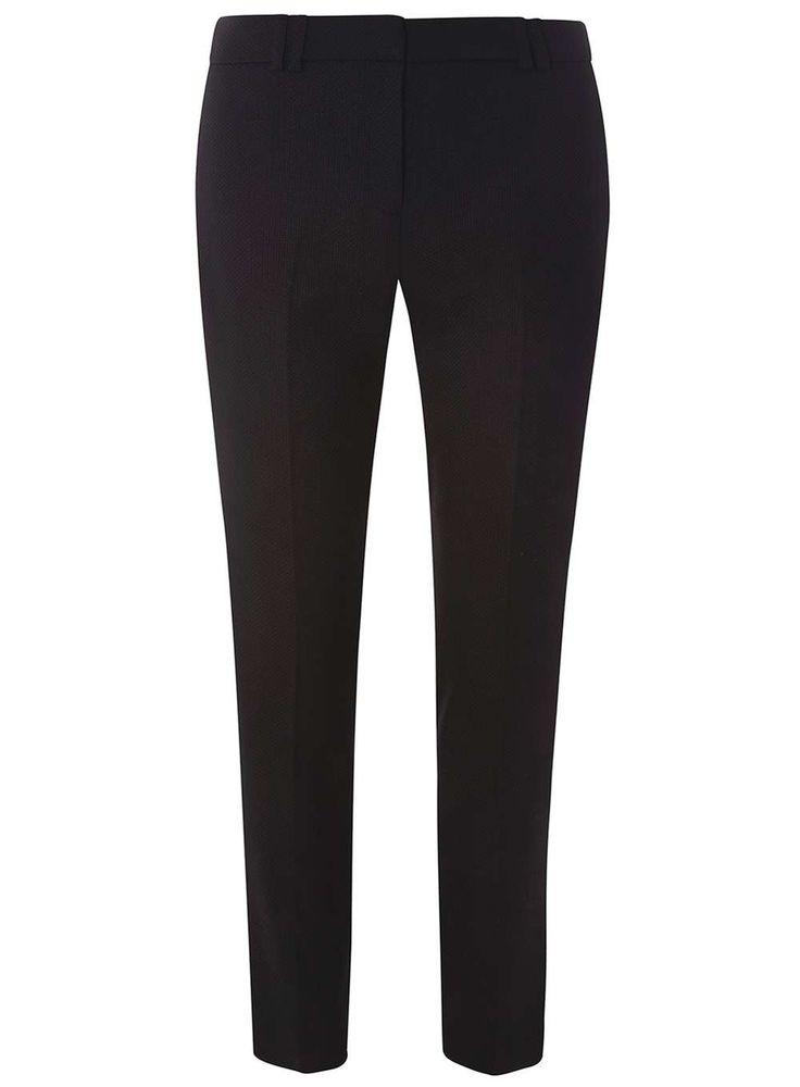 Womens Black Slim Leg Textured Trousers- Black