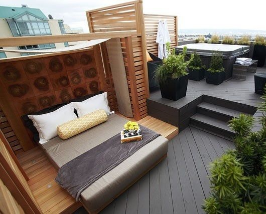 penthouse terrace setup  very cool love the day bed, great for outdoor naps and hot summer nights....