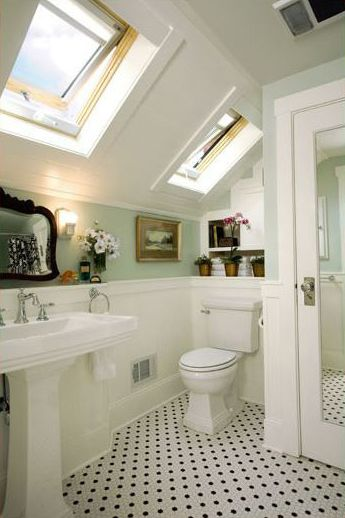 Photo Gallery For Website mint bathroom with slanted ceiling