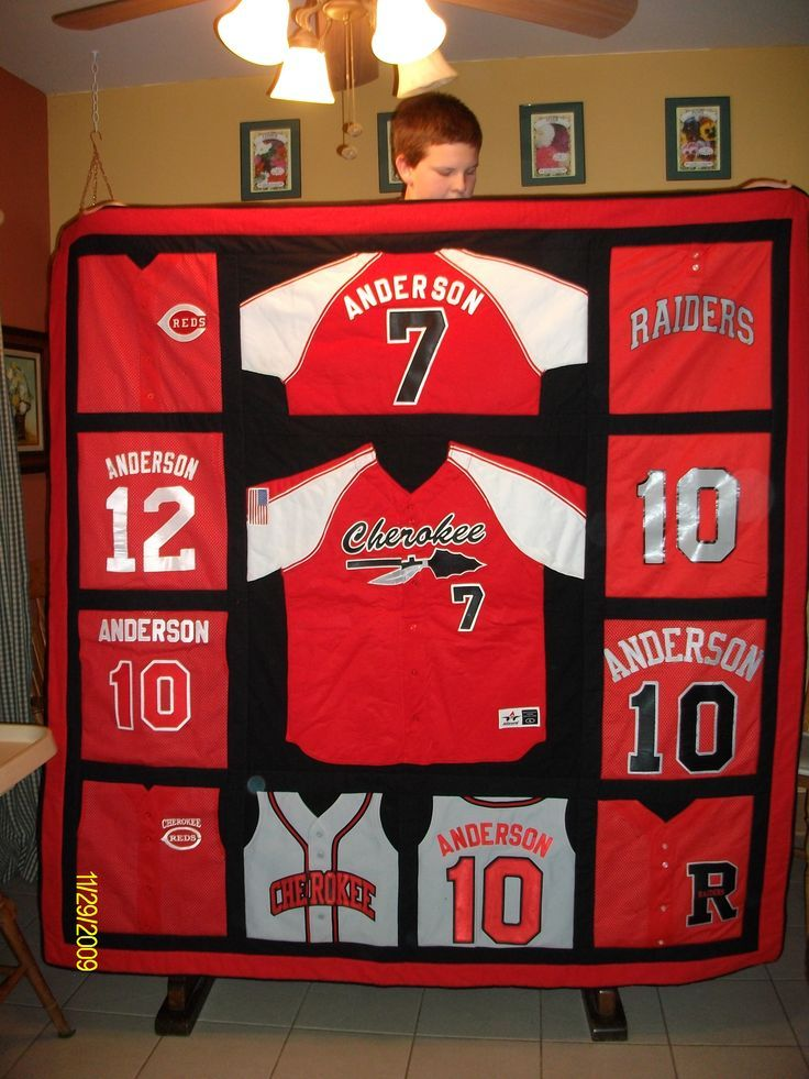 Quilt from old baseball jerseys. Love this! Would use old youth football jerseys instead and give to my son as a college gift!
