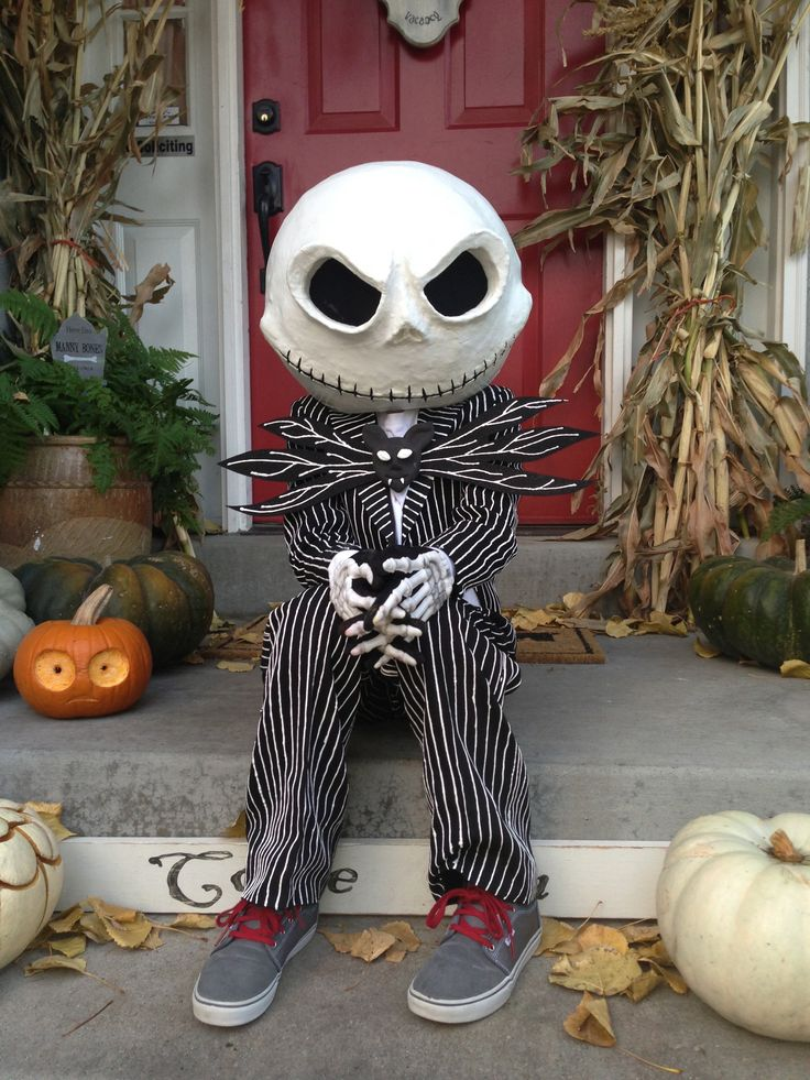 loving how my little guy's Jack Skellington costume turned out. the mask is all paper mache, paint, & black nylons.  mask was painted with glow-in-the-dark paint.  had so much fun making this & he was thrilled.
