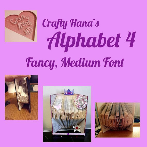 Book Folding Pattern Alphabet  ALPHABET 4  Medium by CraftyHana
