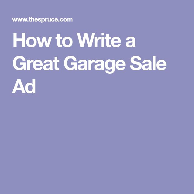 Garage sale ads that attract buyers