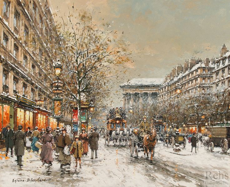 Antoine Blanchard  (1910 - 1988)  Boulevard de la Madeleine