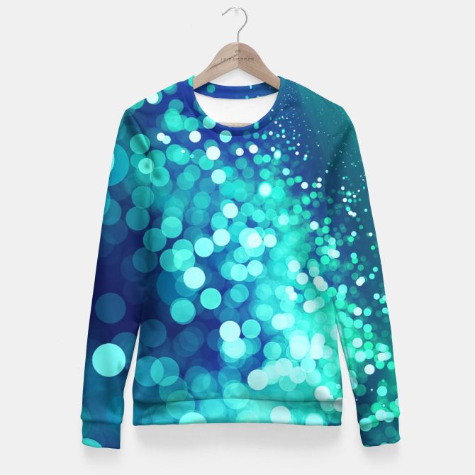 Aqua Blue Glitter Sparkles Fitted Waist Sweater, Live Heroes @liveheroes by @photography_art_decor. All product: https://liveheroes.com/en/brand/oksana-fineart #fashion #clothing #online #shop #design #geometry #metalic #bright #shine #psychedelic #abstract #metalic #abstract #briht #pattern #trendy #stylish #fashionable #modern #awesome #amazing #clothes  #glitter #bokeh #dots #sparkling #girly #twist #swirl #psychedelic #light #aqua #blue #marine #water #sparkles #night
