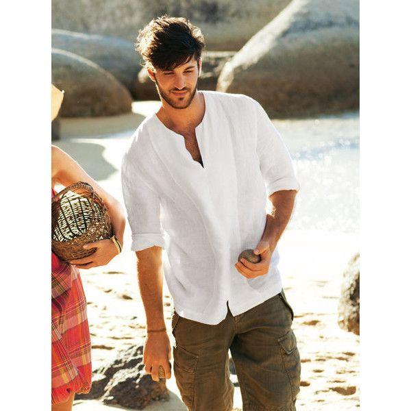 Men's Linen Shirt 06/2011 #138 ❤ liked on Polyvore featuring men's fashion, men's clothing, men's shirts, mens linen shirts, men's apparel, mens clothing and linen mens clothing