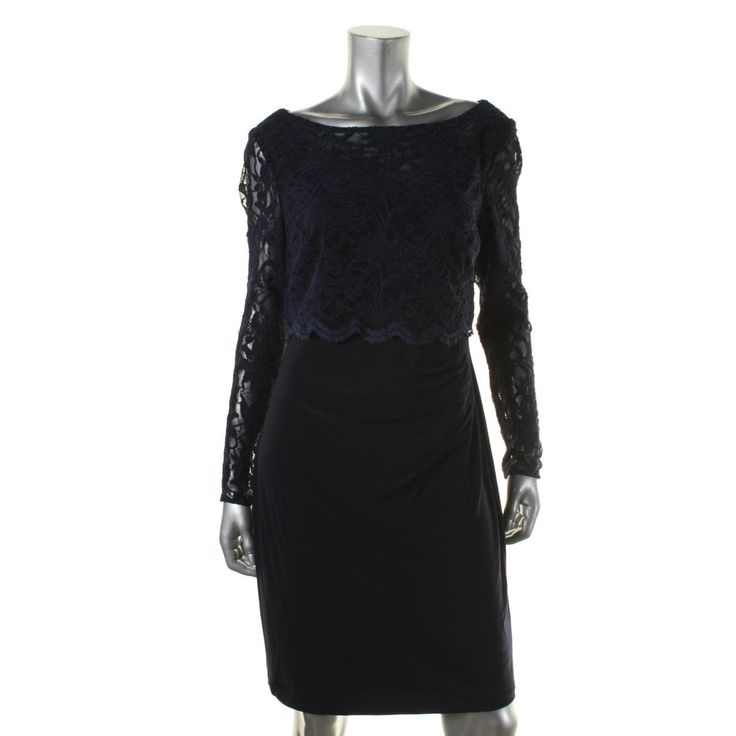 Lauren Ralph Lauren Womens Lace Top Long Sleeves Cocktail Dress