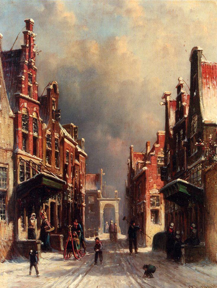 Petrus Gerardus Vertin - Winters stadsgezicht met een besneeuwde straat en sneuwballengooiers (1882)