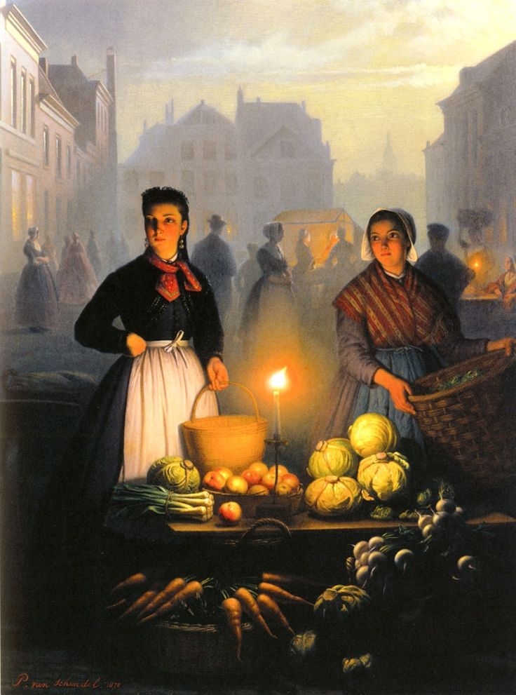 A Market Stall by Moonlight by Petrus Van Schendel, 1870.  Beautiful rendering of moonlight and candlelight.