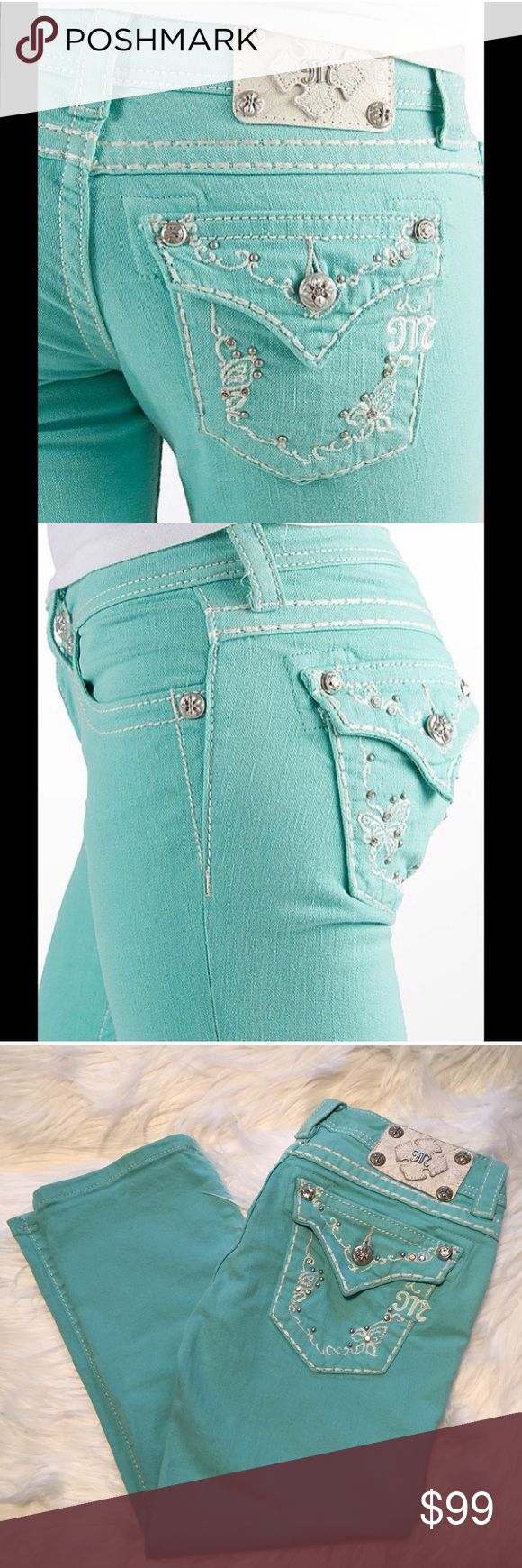 "Miss Me Mint Capri Stretch Jeans 27 excellent Very clean and in excellent preloved condition. This is my favorite color in the whole wide world and I wish these were my size. Very rare and priced accordingly. 2% elastane. Size 27. 28"" unstretched waist. 7"" rise. 22"" inseam. Miss Me Jeans Ankle & Cropped"