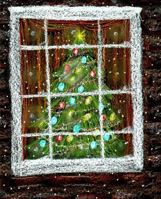 Christmas Drawing Art Project To Do With Kids Christmas Tree In The Window