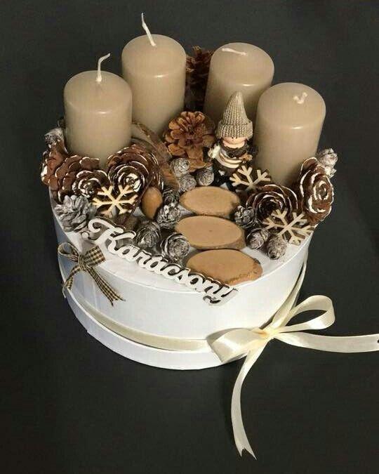 Erdei nyugalom   / advent   karácsony  koszorú  gyertya   egyedi  saját készítésű  ünnep   hópehely  toboz  manó  szalag/