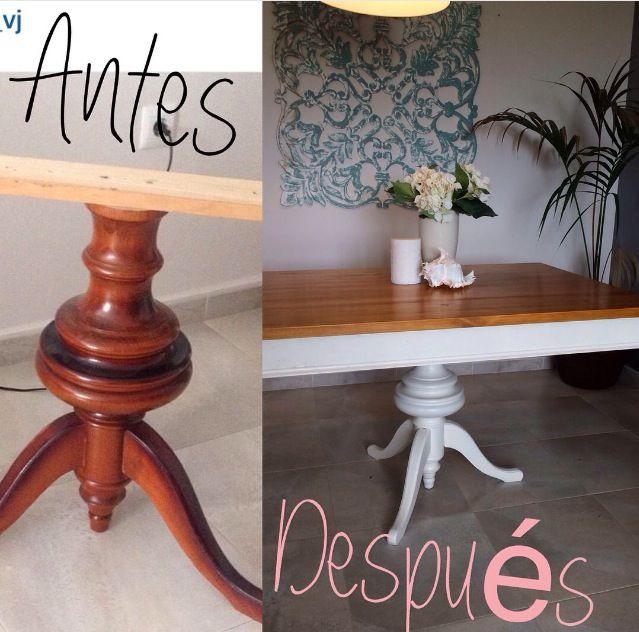 Mesa de madera blanca. Antes y después.