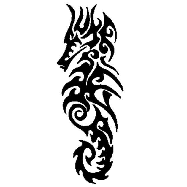 Wzór tatuażu na łopatkę - ala konik morski... tribal wypełniony bez cieni http://www.wzorytatuazy.net/tatuaz/274_konik_morski.html #tatuaz #tribal