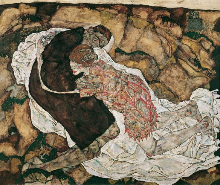 Egon Schiele, Young Woman and Death, 1915, Oil on canvas, 150 x 180 cm, Österreichische Galerie Belverder, Vienna.