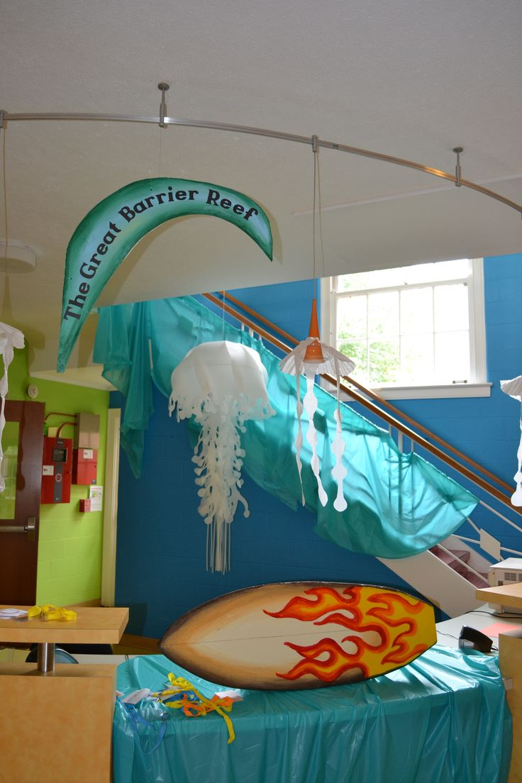 Great Barrier Reef - surfboard carved from foam, painted; Big jellyfish, donated by JCrew (Kenwood Mall - thanks JCrew!) from window display; little jellyfish - made from coffee filters and tissue paper and hung around existing pendant lights