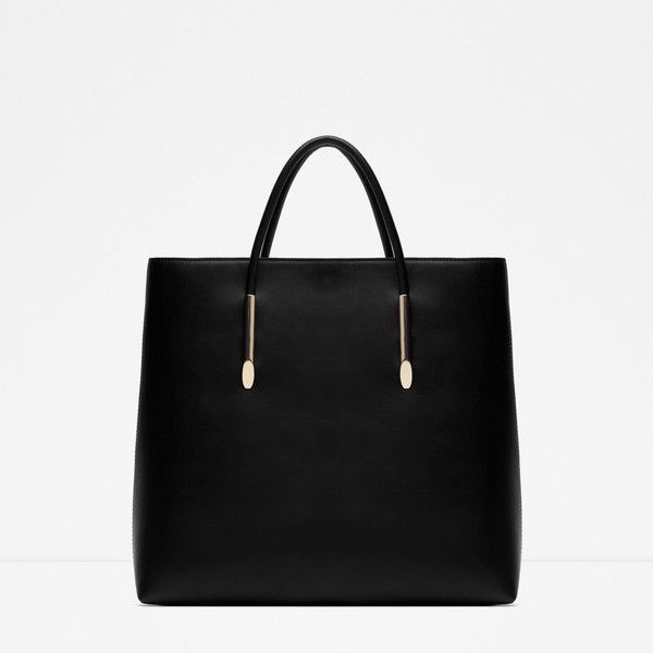 Zara Rigid Tote ($50) ❤ liked on Polyvore featuring bags, handbags, tote bags, black, zara tote, handbags totes, tote purse, black tote and tote handbags