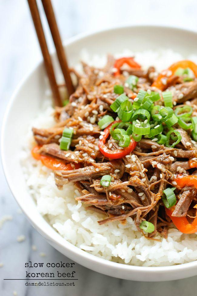 Slow Cooker Korean Beef - Amazingly tender, flavorful Korean beef made right in the slow cooker with just 3 ingredients and 5 min prep!