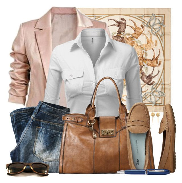 """""""Summer Office Casual"""" by leegal57 ❤ liked on Polyvore featuring Hermès, J.TOMSON, Replay, FOSSIL, Gap and TrackR"""