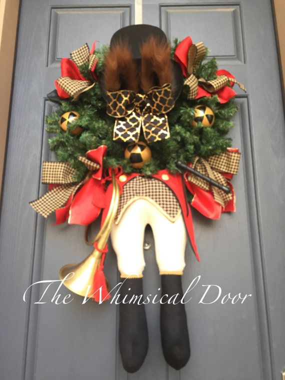 The Fox Hunter Wreath  Hunting Wreath  Horse by TheWhimsicalDoor