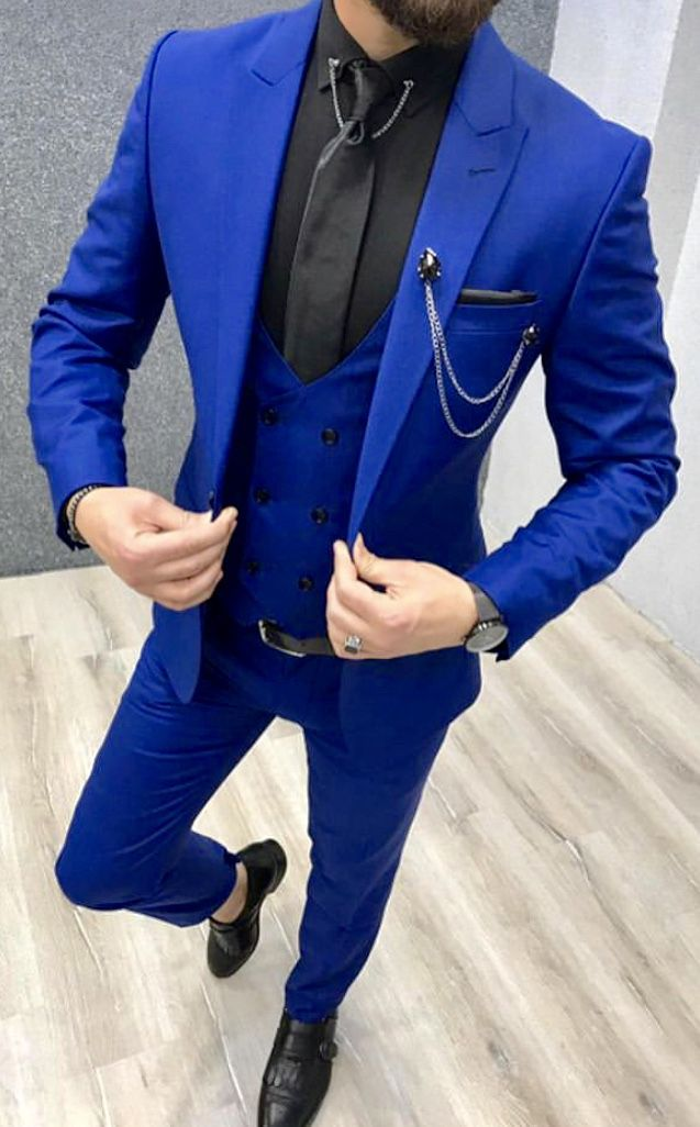 high quality guarantee how to buy enjoy big discount Get this royal blue three piece suit custom made for you by ...