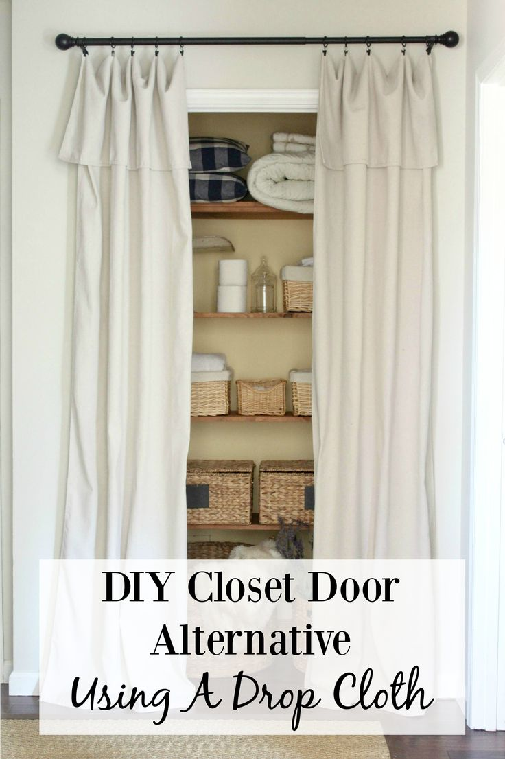 Closet Door Alternative - a drop cloth cut in half, folded over and hung with curtain clips. This is a quick, easy and inexpensive fix for hiding what is inside a closet - via Tale of an Ugly House