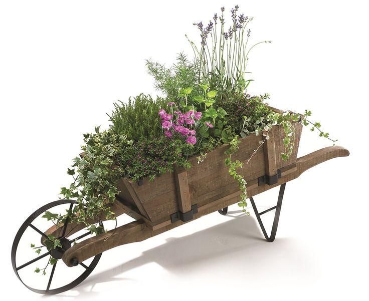 Decorative Classic French Wooden Wheelbarrow Planter - H39cm x L1 ...