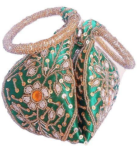 Handmade Green Beadwork Potli Bag