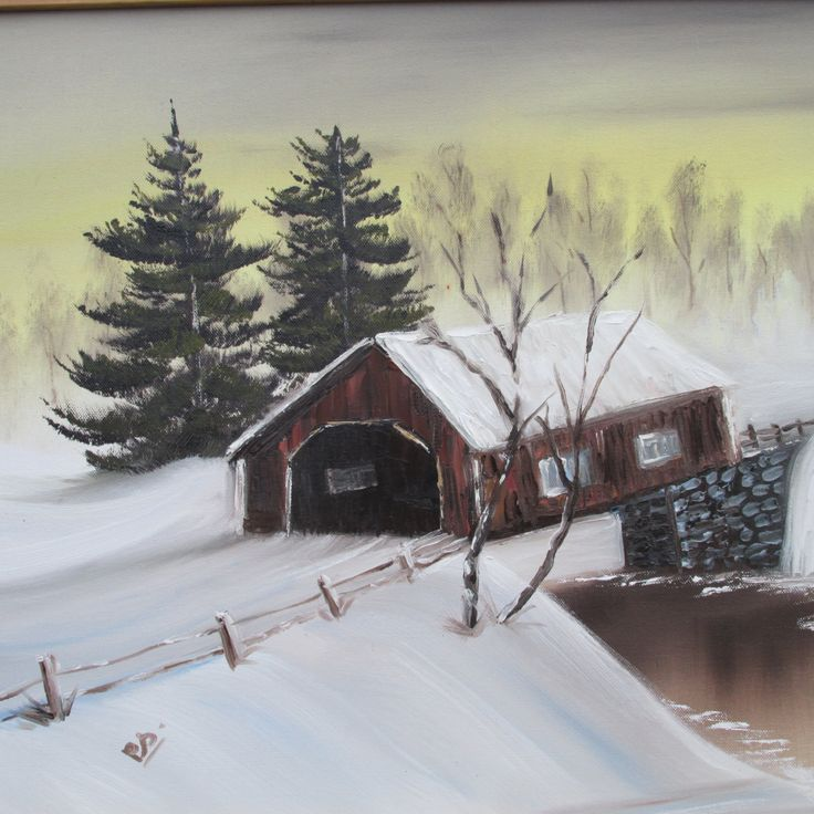 Winter snow scene by Poppysartcollection on Etsy
