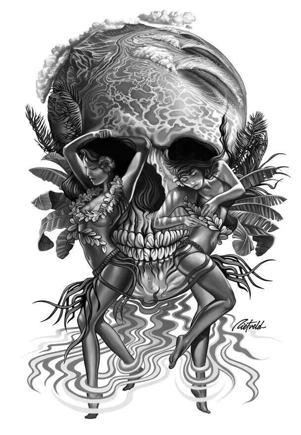 Hawaiian Skull Optical Illusion Potential Tattoo Ideas